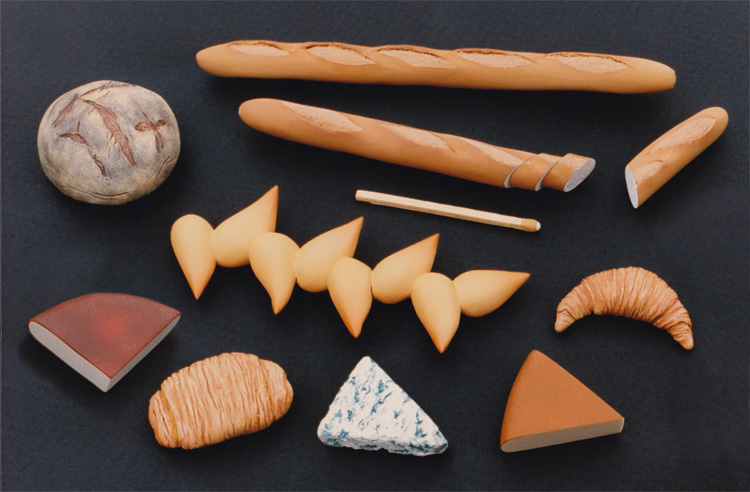 French breads and cheeses, 1/12th scale
